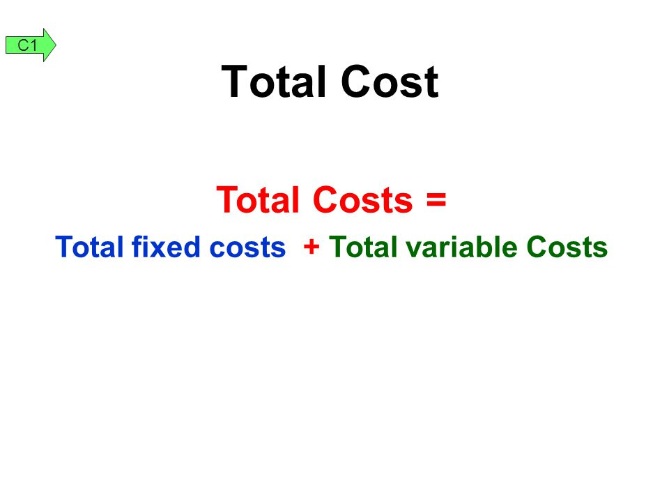 Total fixed costs + Total variable Costs