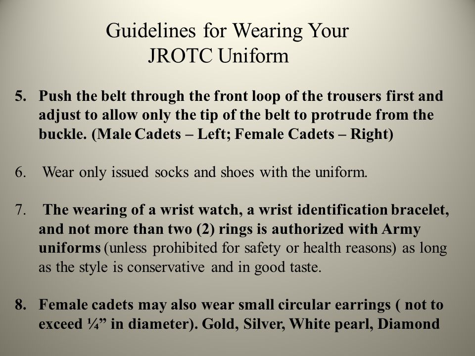 Guidelines for Wearing Your JROTC Uniform