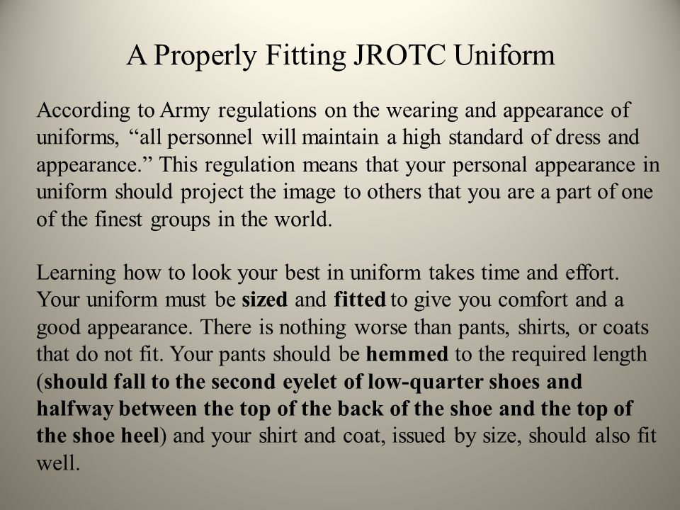 A Properly Fitting JROTC Uniform