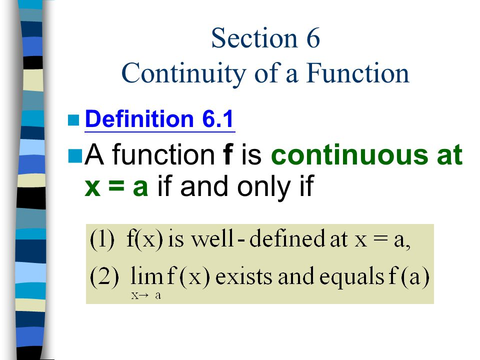Section 6 Continuity of a Function
