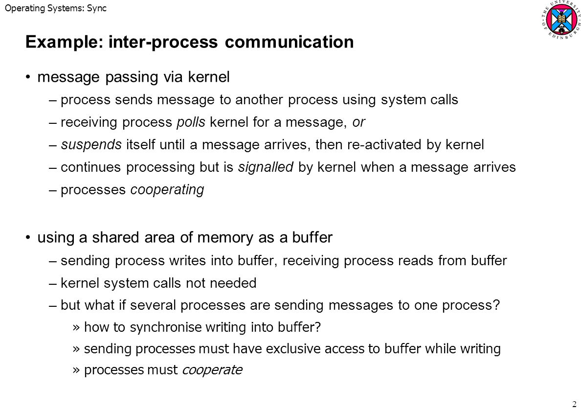 Example: inter-process communication