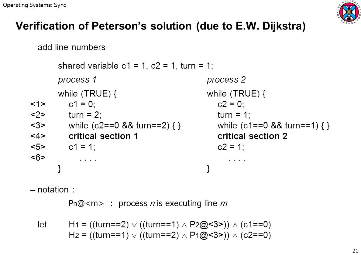 Verification of Peterson's solution (due to E.W. Dijkstra)