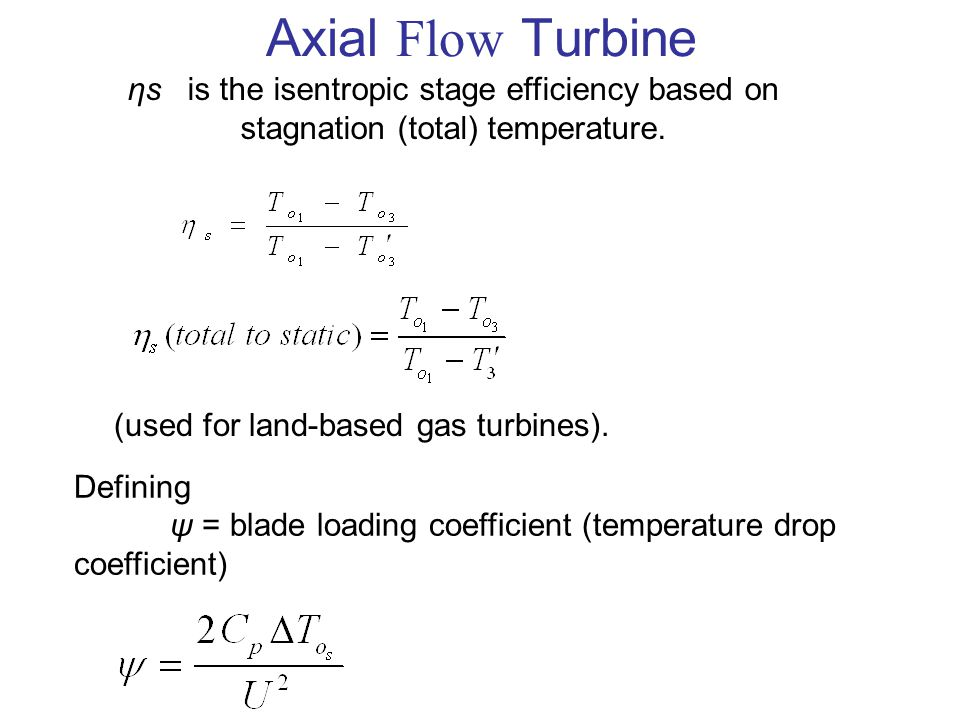 Axial Flow Turbine ηs is the isentropic stage efficiency based on stagnation (total) temperature.