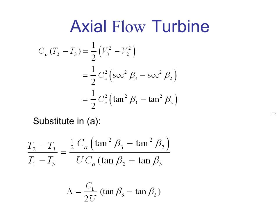 Axial Flow Turbine  Substitute in (a):