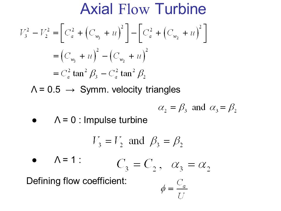 Axial Flow Turbine Λ = 0.5 → Symm. velocity triangles