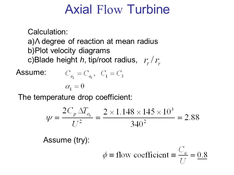 Axial Flow Turbine Calculation: Λ degree of reaction at mean radius