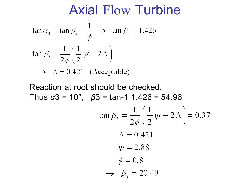 Axial Flow Turbine Reaction at root should be checked.