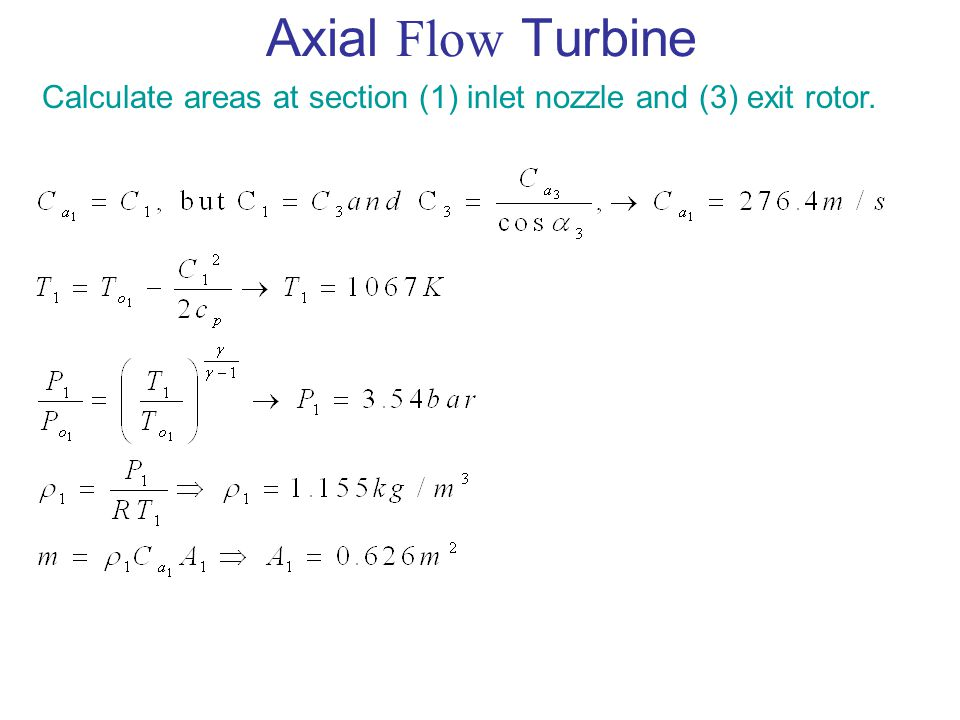 Axial Flow Turbine Calculate areas at section (1) inlet nozzle and (3) exit rotor.