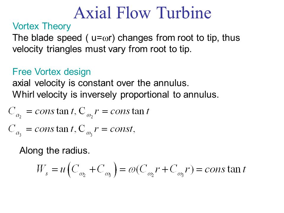 Axial Flow Turbine Vortex Theory