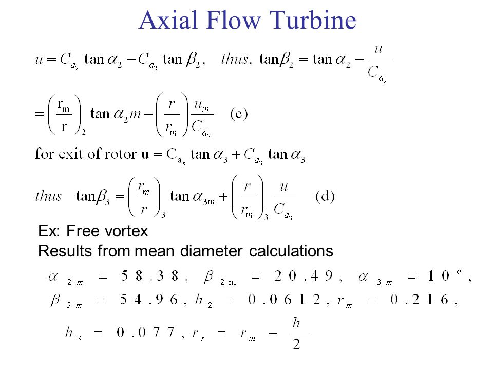 Axial Flow Turbine Ex: Free vortex