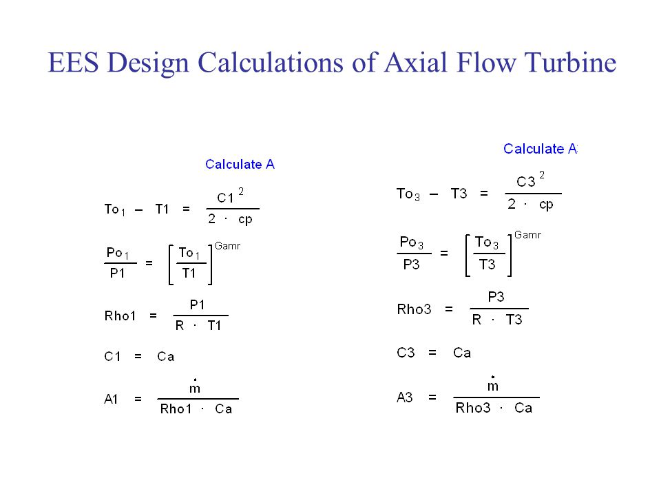 EES Design Calculations of Axial Flow Turbine