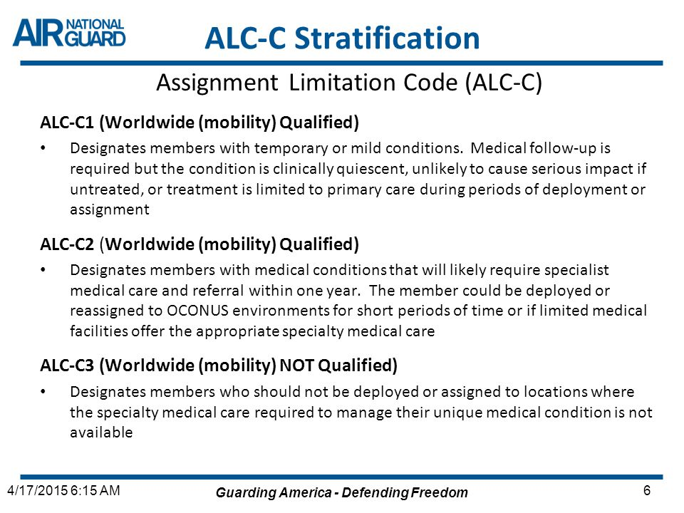 Assignment Limitation Code (ALC-C)