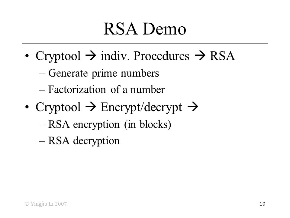 RSA Demo Cryptool  indiv. Procedures  RSA