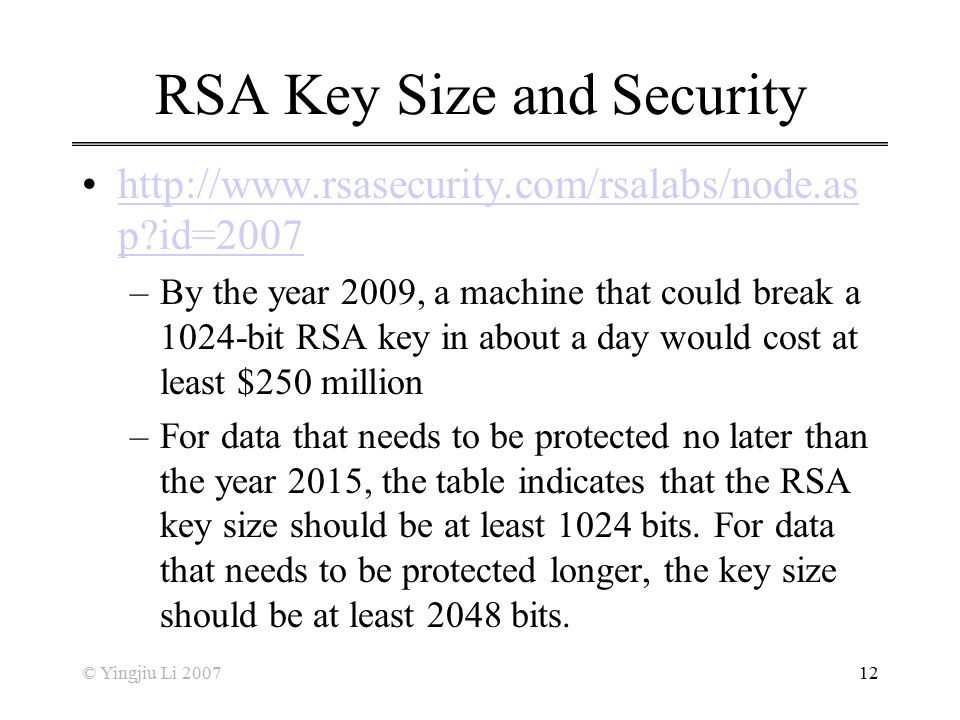 RSA Key Size and Security