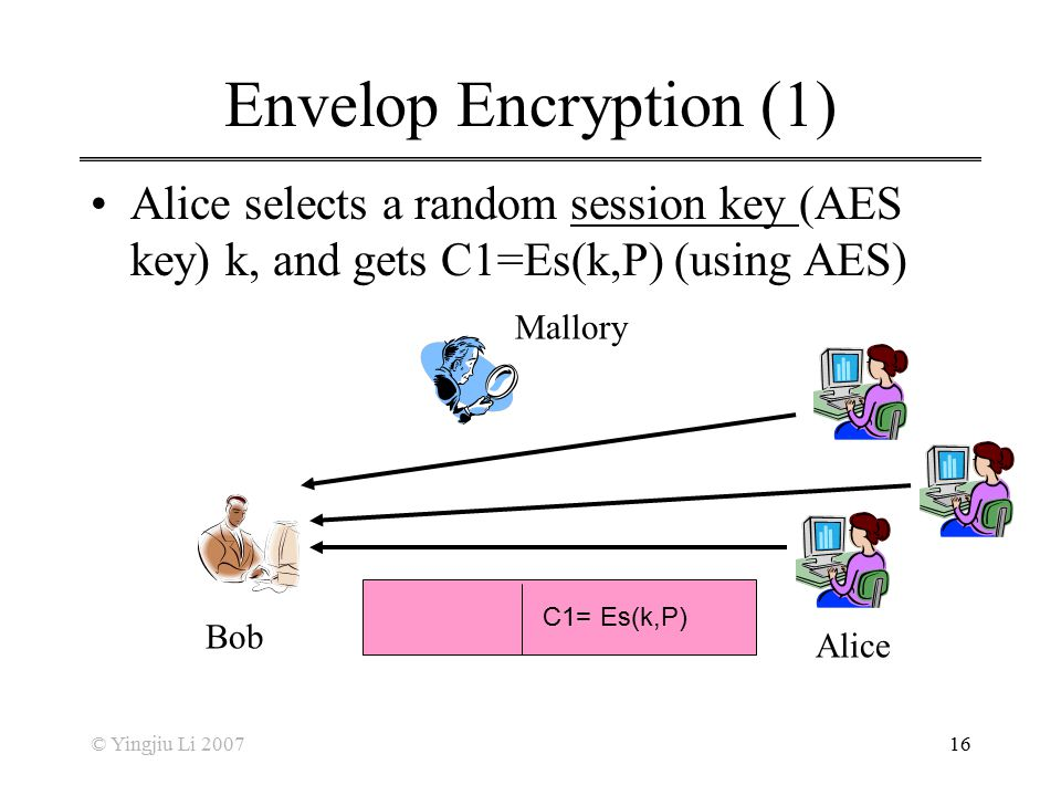Envelop Encryption (1) Alice selects a random session key (AES key) k, and gets C1=Es(k,P) (using AES)