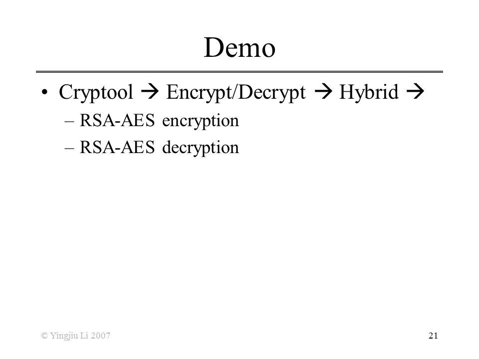 Demo Cryptool  Encrypt/Decrypt  Hybrid  RSA-AES encryption