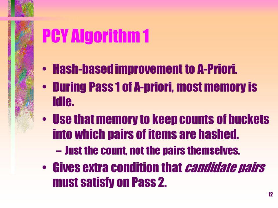 PCY Algorithm 1 Hash-based improvement to A-Priori.