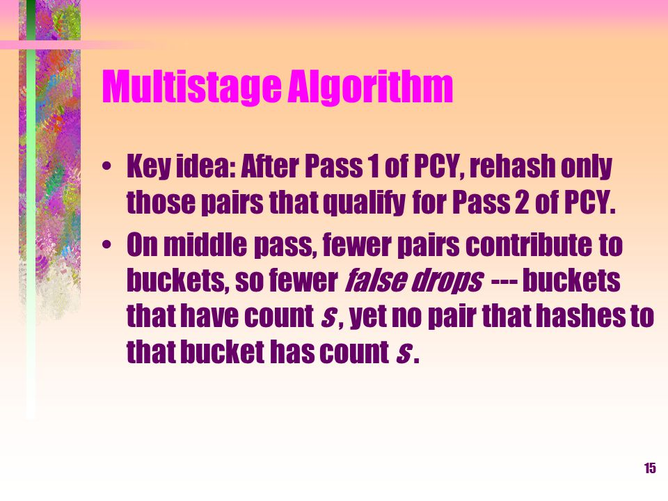 Multistage Algorithm Key idea: After Pass 1 of PCY, rehash only those pairs that qualify for Pass 2 of PCY.