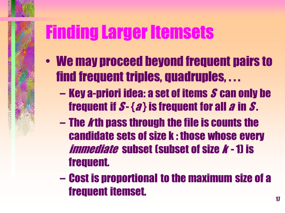 Finding Larger Itemsets