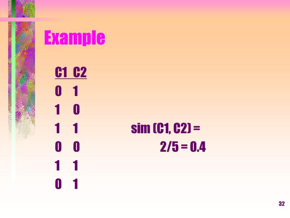 Example C1 C2 0 1 1 0 1 1 sim (C1, C2) = 0 0 2/5 = 0.4 1 1