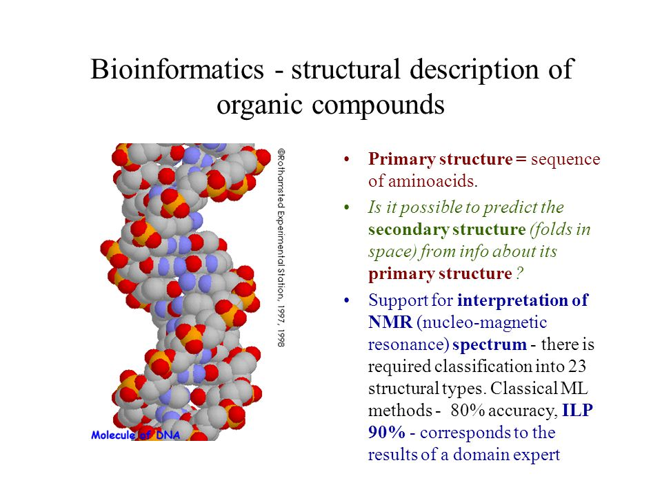 Bioinformatics - structural description of organic compounds