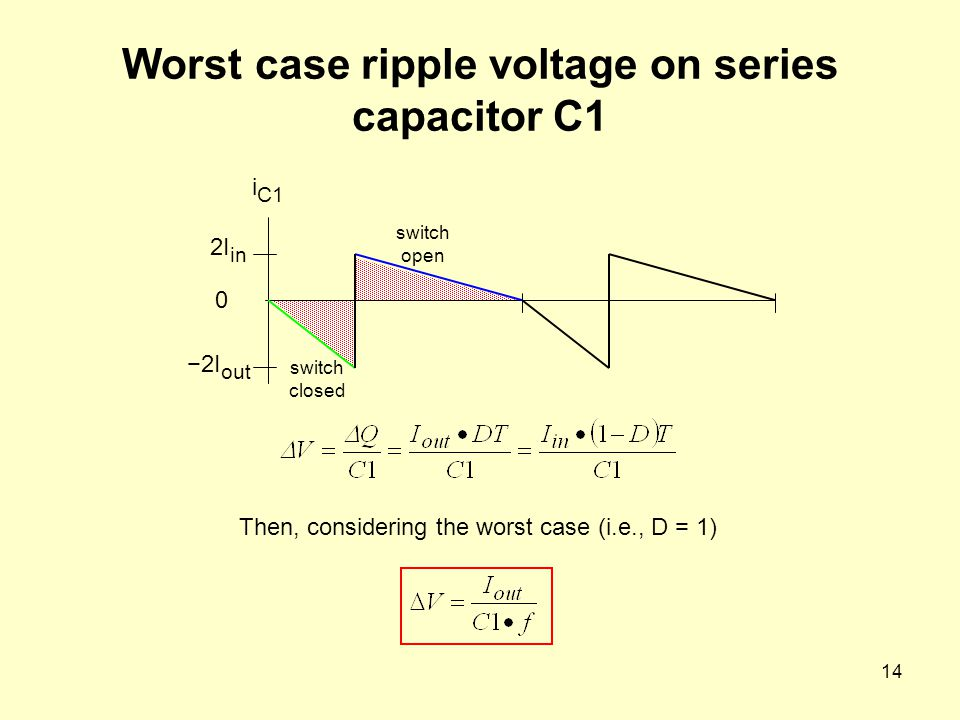 Worst case ripple voltage on series capacitor C1
