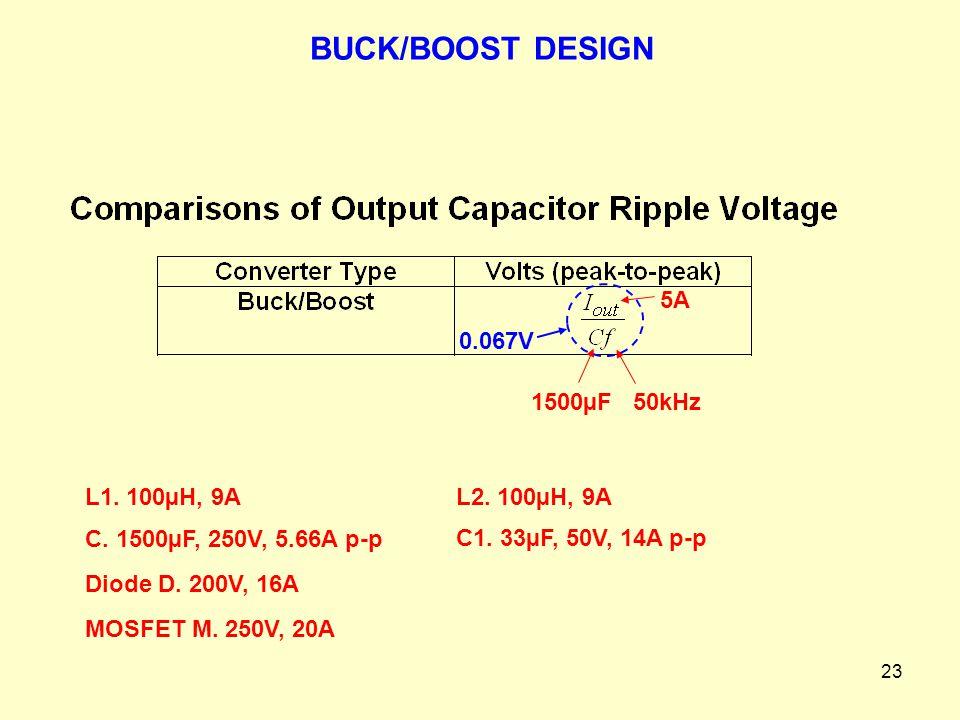 BUCK/BOOST DESIGN 5A 0.067V 1500µF 50kHz L1. 100µH, 9A L2. 100µH, 9A