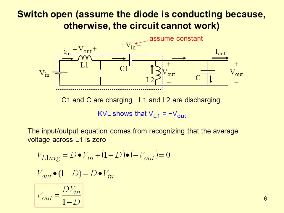 Switch open (assume the diode is conducting because, otherwise, the circuit cannot work)