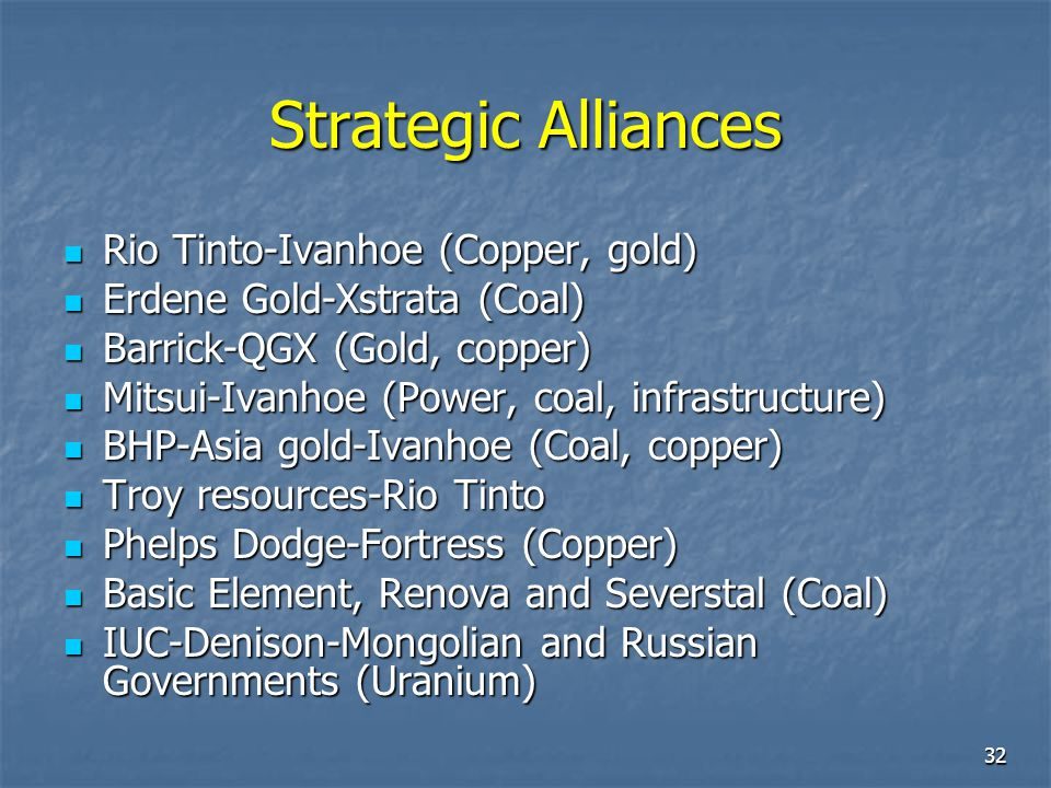 Strategic Alliances Rio Tinto-Ivanhoe (Copper, gold)