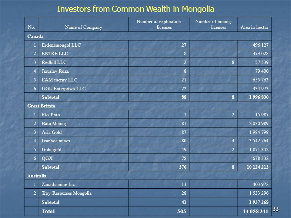 Investors from Common Wealth in Mongolia