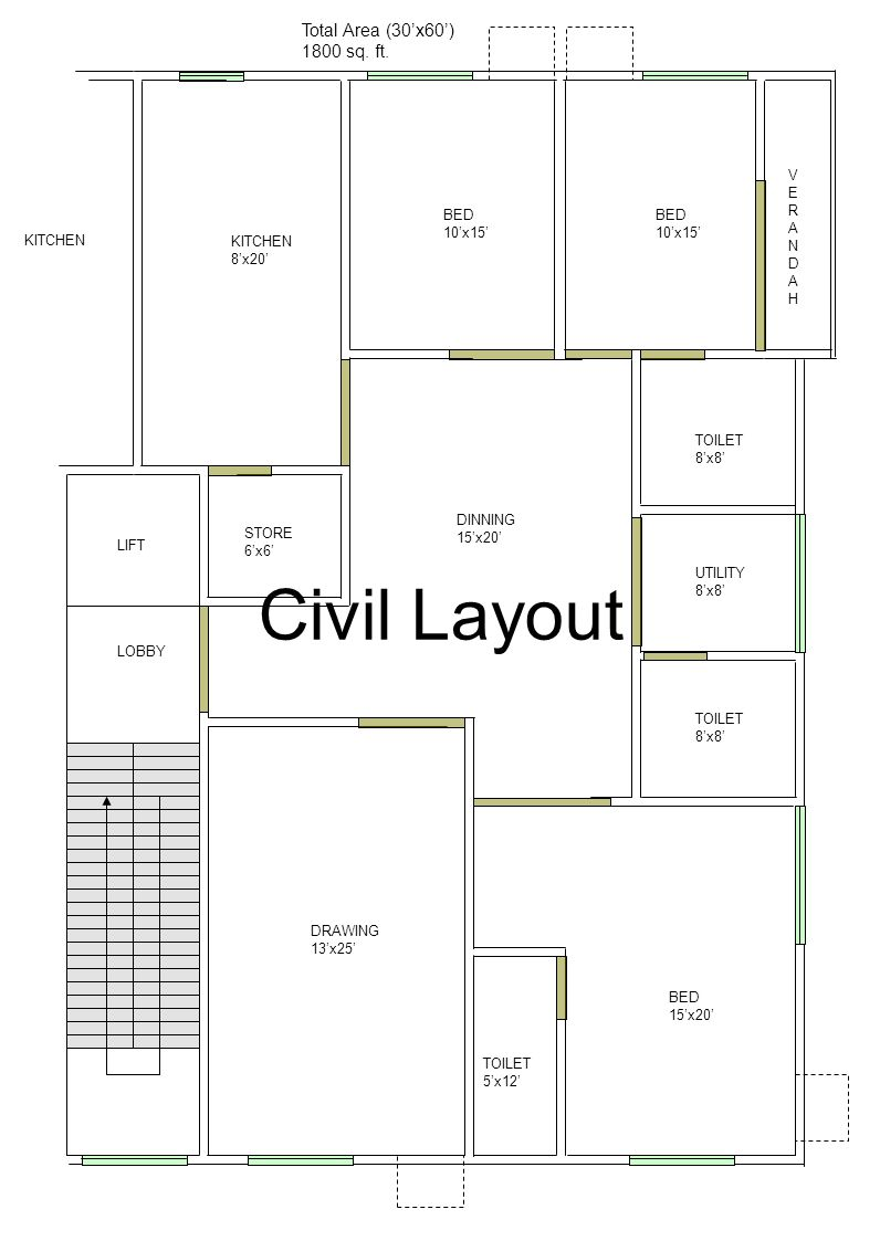 Civil Layout Total Area (30'x60') 1800 sq. ft. V E R A N BED D 10'x15'