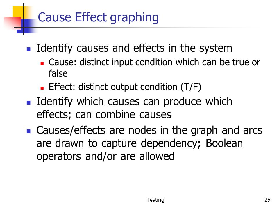 Cause Effect graphing Identify causes and effects in the system