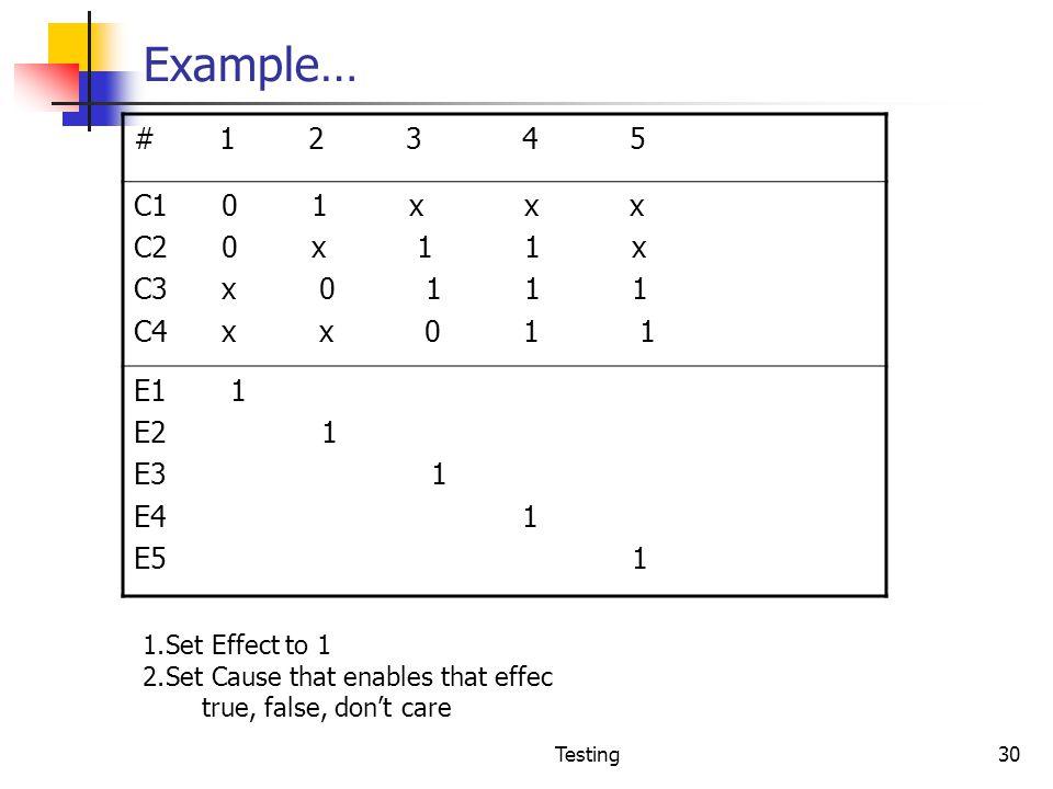 Example… # 1 2 3 4 5. C1 0 1 x x x.