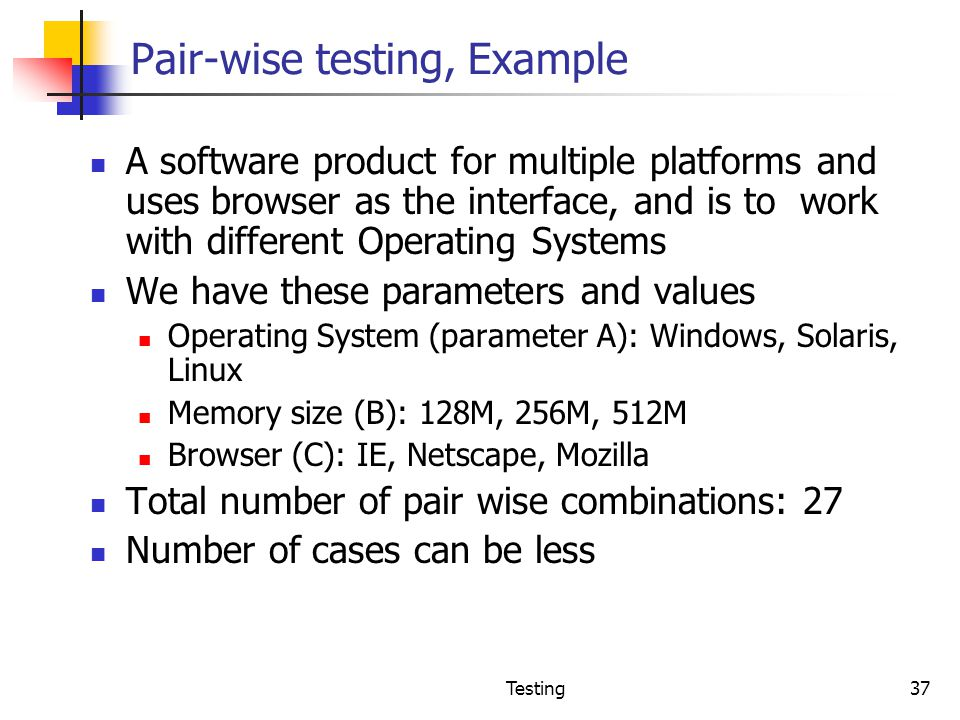 Pair-wise testing, Example