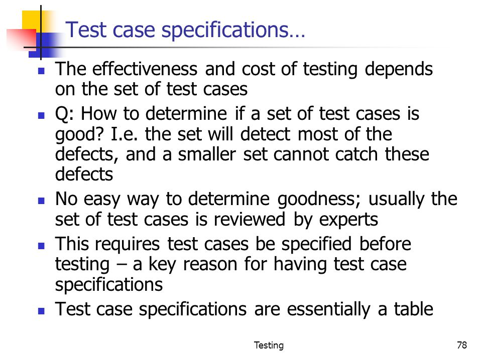Test case specifications…
