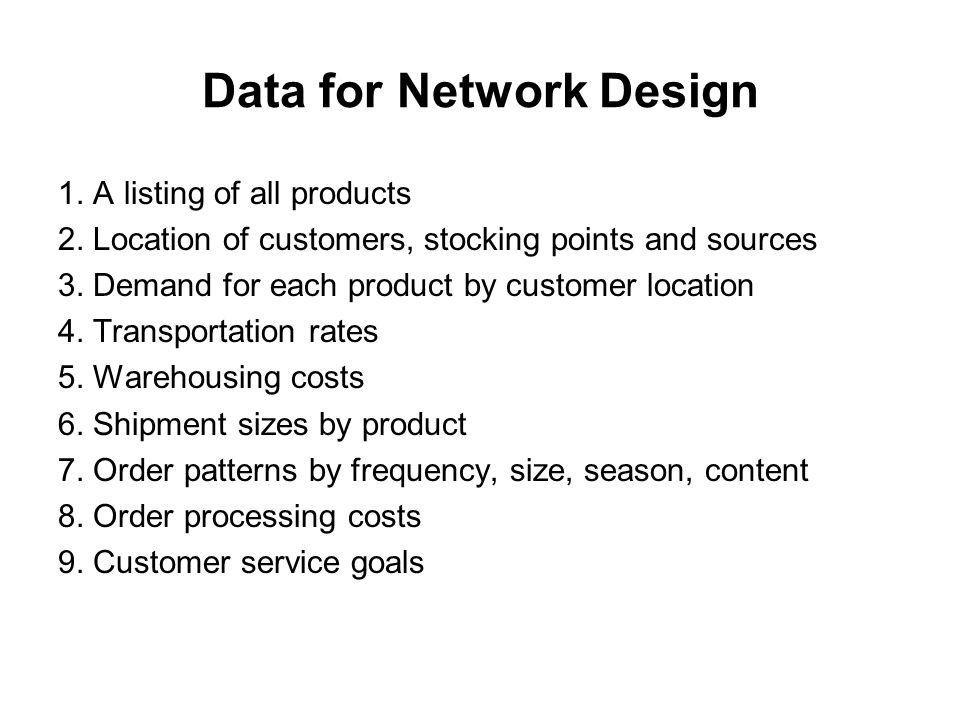 Data for Network Design