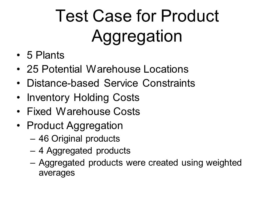 Test Case for Product Aggregation