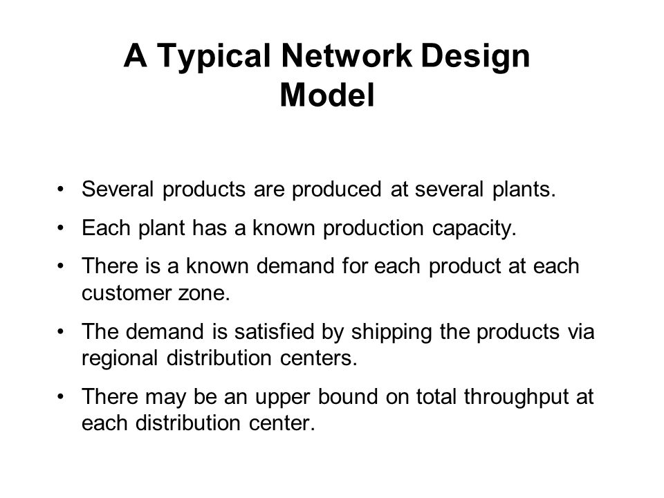 A Typical Network Design Model