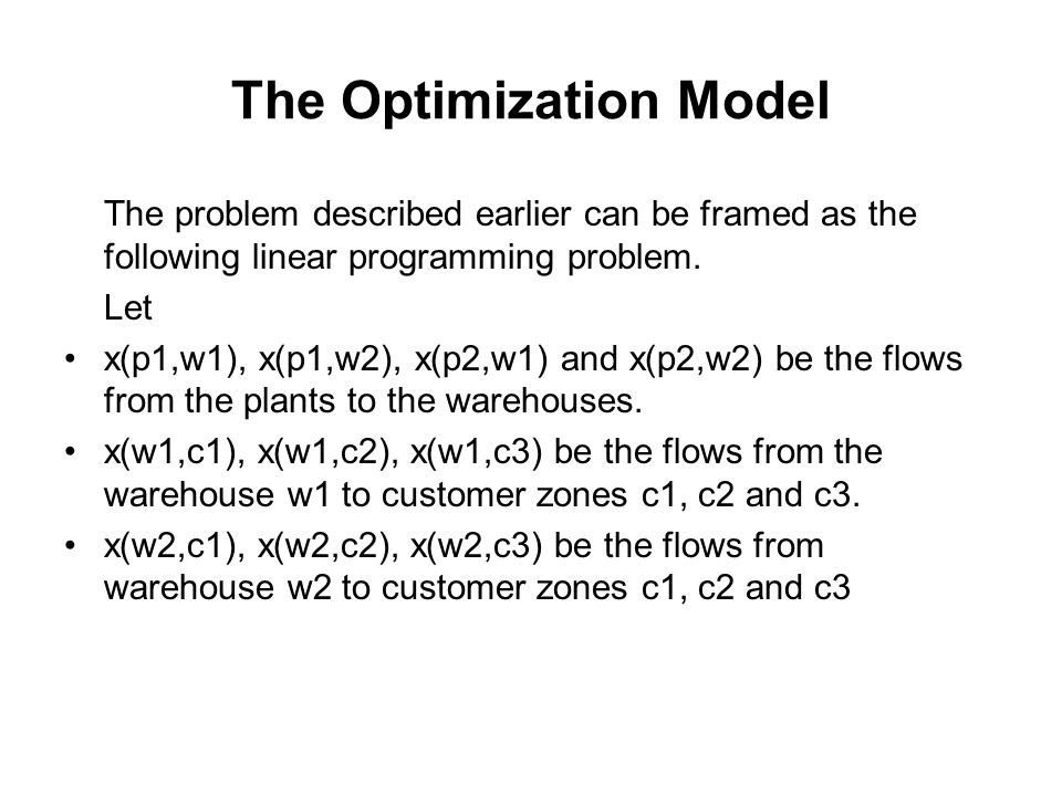 The Optimization Model