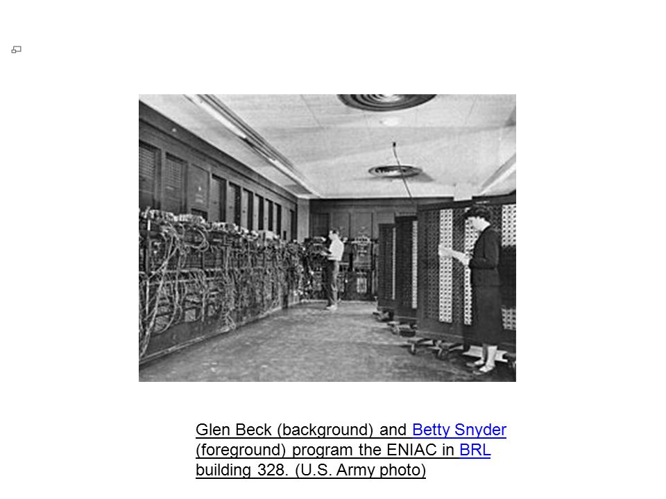 Glen Beck (background) and Betty Snyder (foreground) program the ENIAC in BRL building 328.