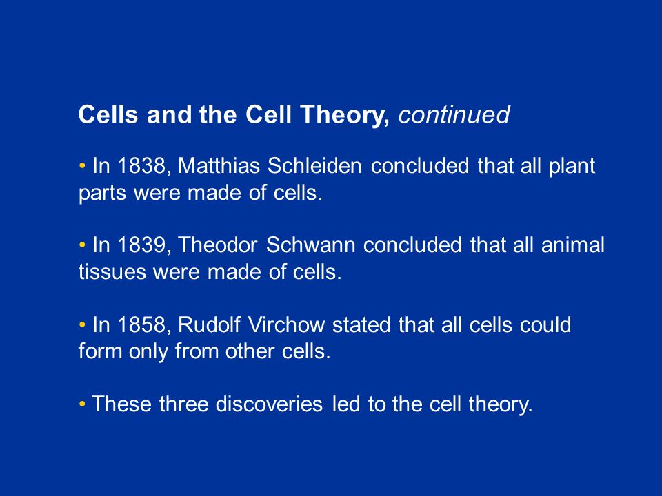 Cells and the Cell Theory, continued