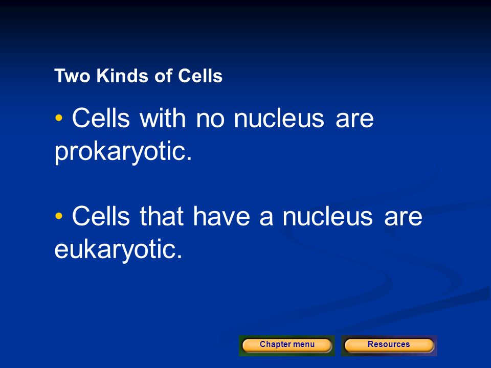 Cells with no nucleus are prokaryotic.