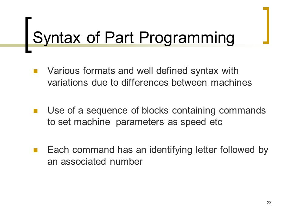 Syntax of Part Programming