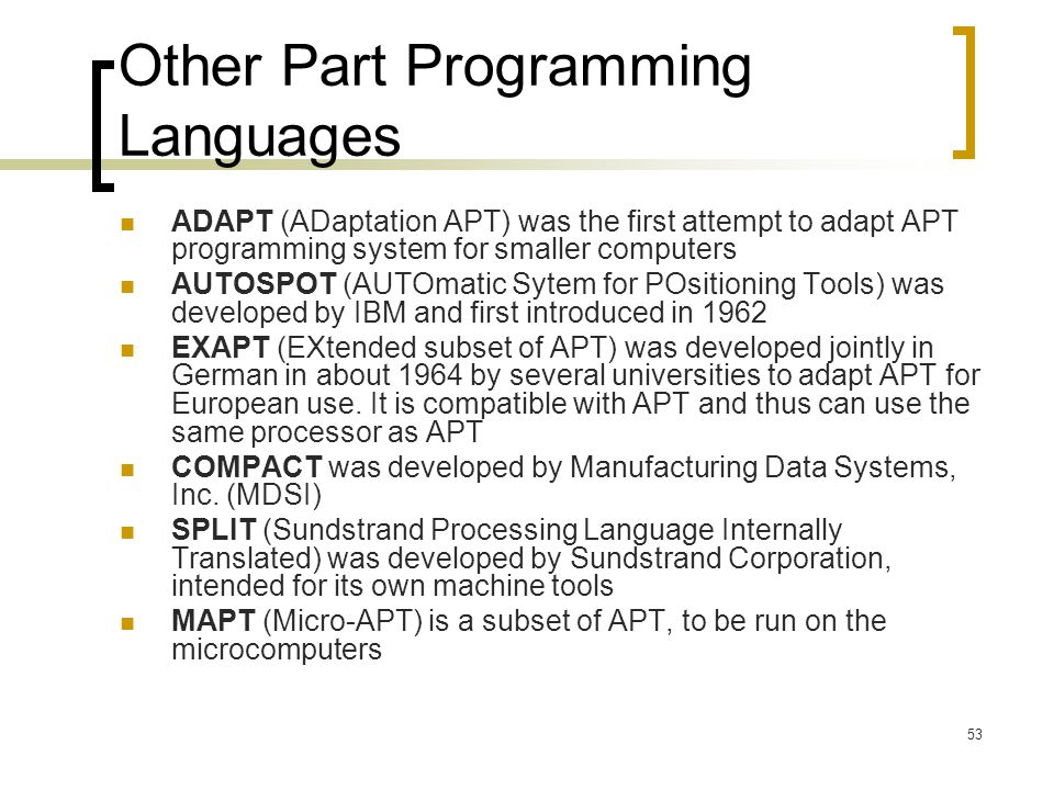 Other Part Programming Languages