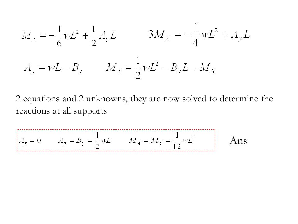 2 equations and 2 unknowns, they are now solved to determine the reactions at all supports