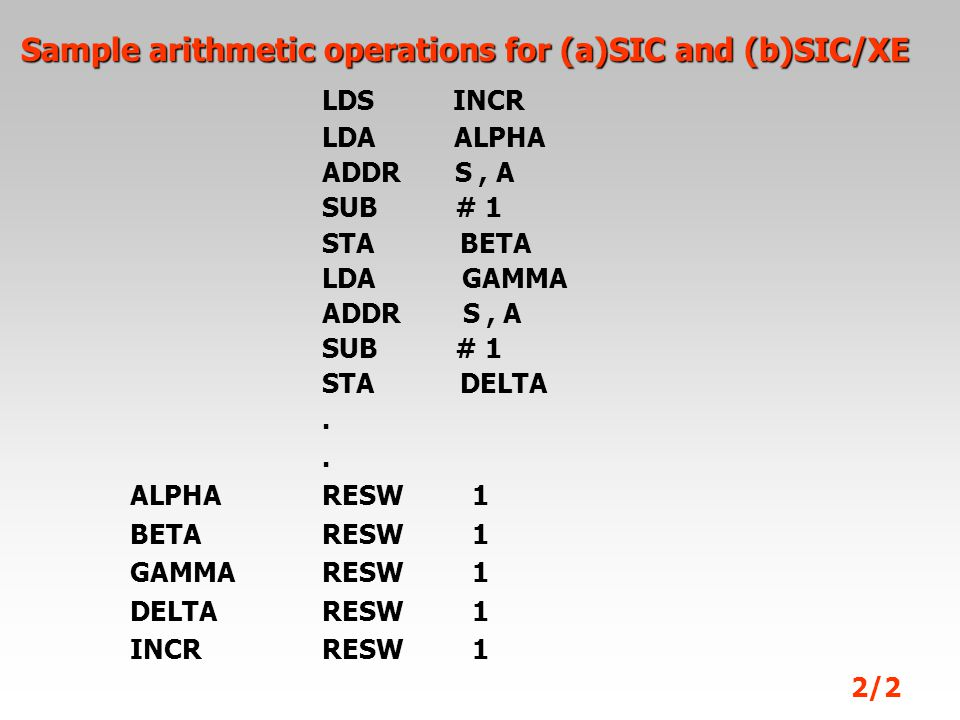 Sample arithmetic operations for (a)SIC and (b)SIC/XE