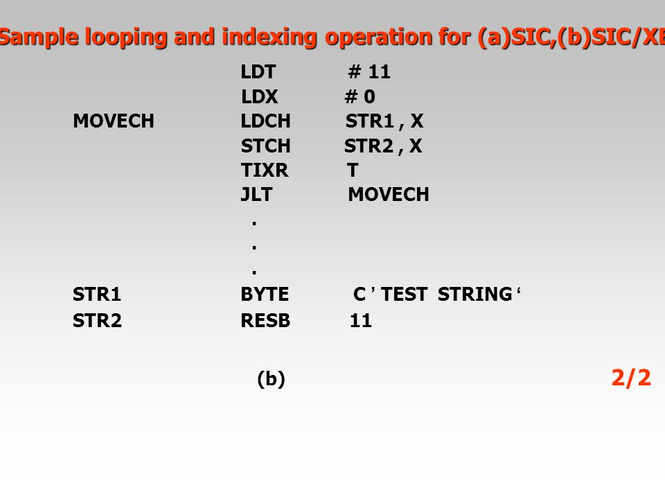 Sample looping and indexing operation for (a)SIC,(b)SIC/XE