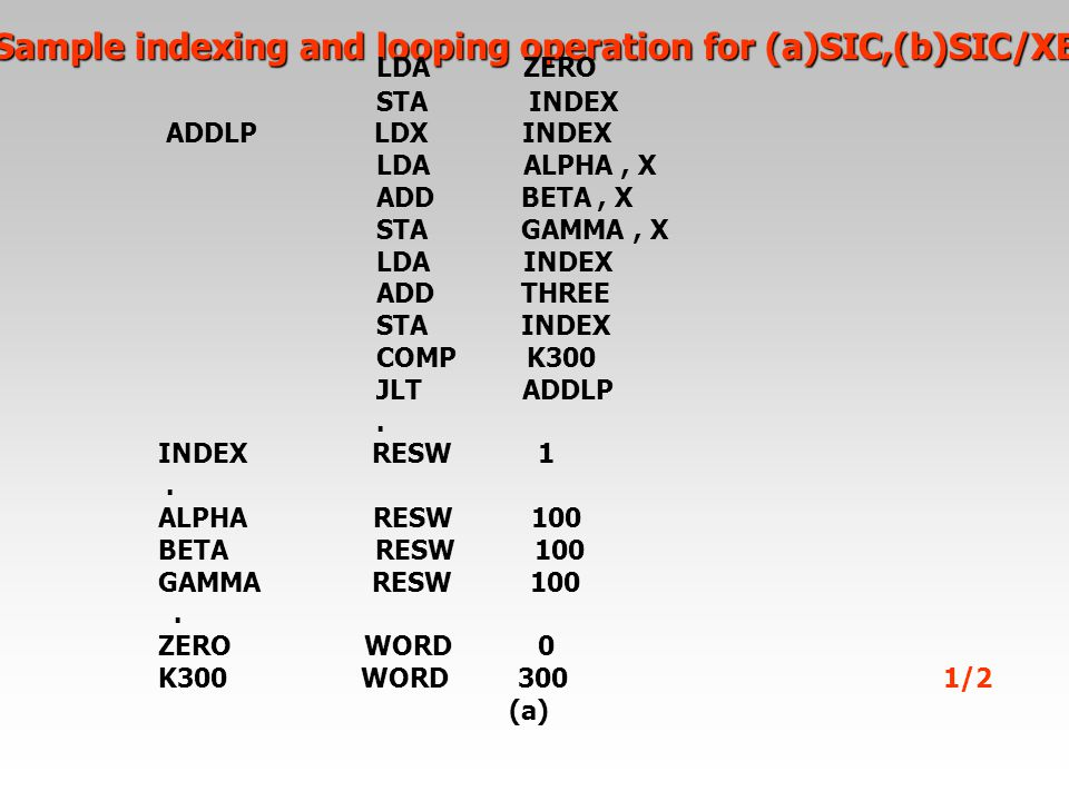 Sample indexing and looping operation for (a)SIC,(b)SIC/XE