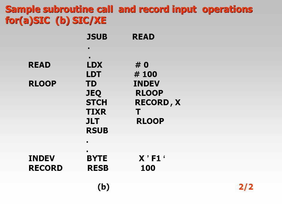 Sample subroutine call and record input operations for(a)SIC (b) SIC/XE