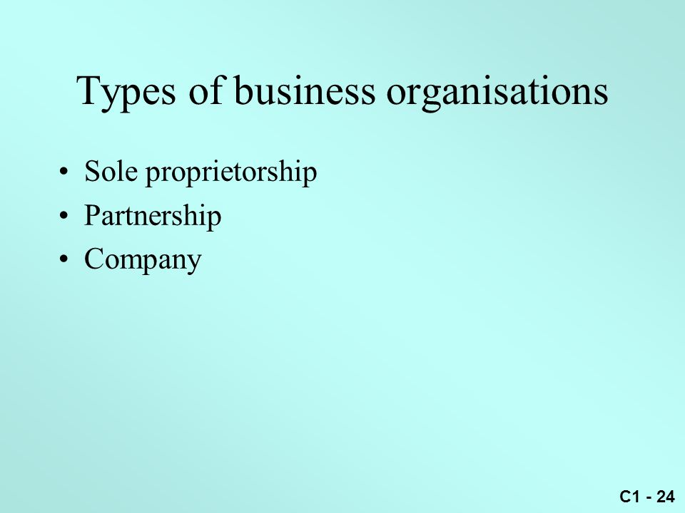 Types of business organisations